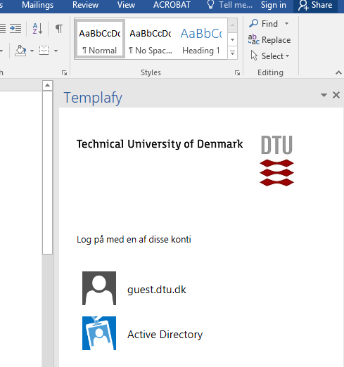Dtu templatesskabeloner itswiki if you want to disable templafy to popup every time word or powerpoint is started press the 3 dots in the upper right corner of the template window and toneelgroepblik